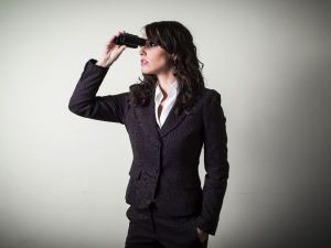 woman searching binoculars SMALL